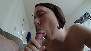 Amateur nude wife gets coached through a blowjob