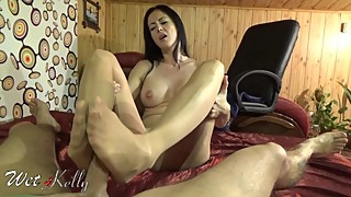 My wife give me delicius footjob with pantyhose