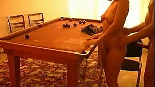 Mature man fucked girl on the pool table