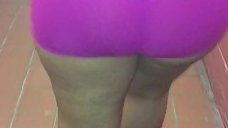 Wife purple booty spandex shorts vpl see through