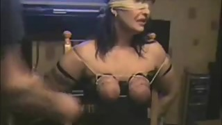 Whipping tits of my submissive wife