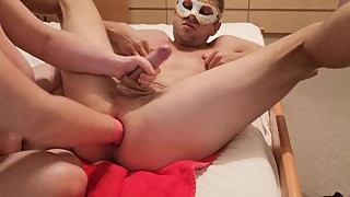 MILF chubby wife fist my ass in pink glove and jerking my uncut cock