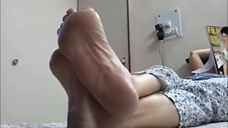 Candid Indian Wife reading soles
