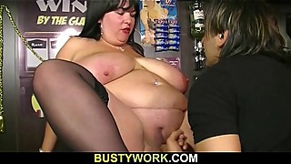 Boss fucks huge barmaid at work