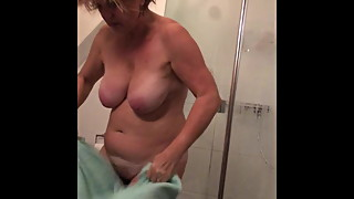 My wife take a shower