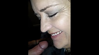 Blow job from hot wife, swallows cum.  Deepthroat