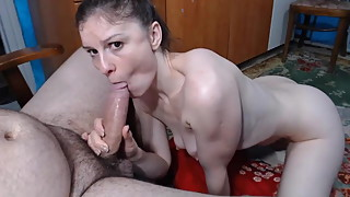 Slim wife with small saggy tits deepthroat his cock