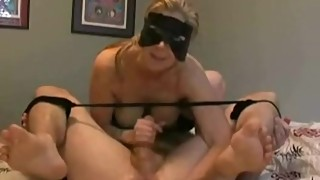Blonde Wife gives Femdom Prostage Massage to her Husband