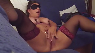 Lucia blindfolded rubs her clit in front of the camera