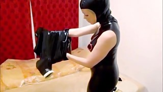 "Latex housewife a€"" dressing up french maid costume"