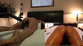 HOT WIFE FUCKED BY HARD BLACK DILDO ON FUCK MACHINE 2 CAM VIEW