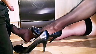Huge cum on black stockings Cam1