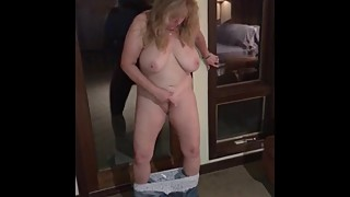 Naughty Wife Masturbating While Standing Jeans & Panties Around Ankles