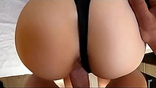 Hard sex man with a fan in the priority position ends with a cream pie