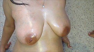 Oiled up Indian wife poses for video and gets cum splattered