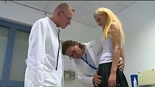 husband in waiting room 2 older doctor study wife