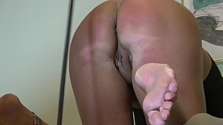 Cheating wife gets caned ass cheeks, arse crack and asshole!