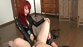 Asian redhead in latex pegging slave