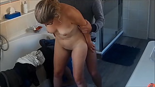 My wife fucked in the bathroom on real hidden cam 2
