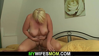 Wife finds  big tits blonde mom riding his cock