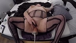 Thick PAWG wife in nylons machine fucked & deepthroating