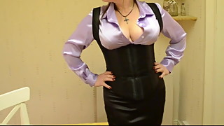 Satin Downblouse in Satin Skirt and Corset