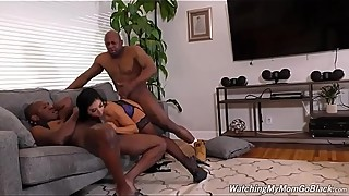 Stepson observes his Stepmom Milf Raven Hart fucking to black BBC dicks and receiving a cumload of afro goo and sperm in her slut face