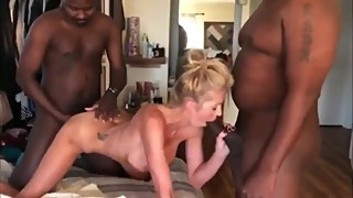 Husband films his naughty wife enjoying amazing sex with two BBC
