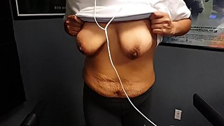 Wife's old natural tits bouncing