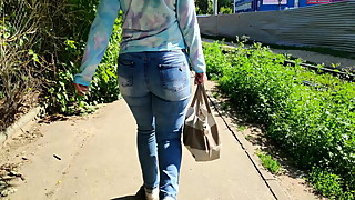Big ass mature milfs shaking in tight jeans