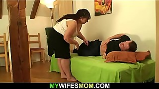 Wife finds him doggy-fucks her busty mom