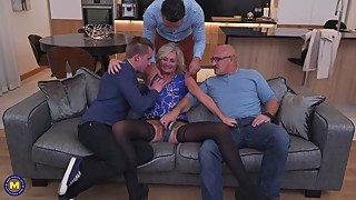 Wife fucks in all holes in front of cuckold