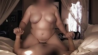 Real Wife with great natural bouncing big tits riding dick - FaceBlurred